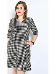 cheap -Really Love Women's Party Daily Plus Size Vintage Casual Sexy A Line Shift Sheath Dress,Houndstooth V Neck Midi Cotton Polyester Spandex All Seasons