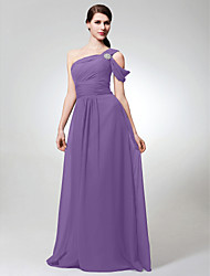 A-Line One Shoulder Floor Length Chiffon Bridesmaid Dress with Side Draping Ruching Crystal Brooch by LAN TING BRIDE®