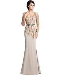 Sheath / Column V-neck Floor Length Chiffon Mother of the Bride Dress with Beading