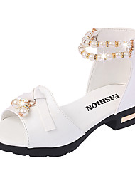 Girls' Sandals Summer Comfort Flower Girl Shoes PU Party & Evening Dress Casual Chunky Heel Imitation Pearl Blushing Pink White