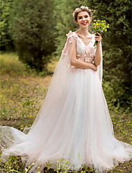 cheap -A-Line V-neck Sweep / Brush Train Lace Tulle Wedding Dress with Appliques Flower by LAN TING BRIDE®