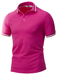 Men's Casual/Daily Sports Simple Active Summer Polo,Solid Striped Button Down Collar Short Sleeve Cotton Rayon Thin
