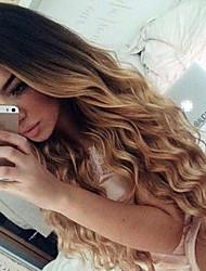Недорогие -человеческие волосы Remy Бесклеевая кружевная лента Лента спереди Парик Бразильские волосы Свободные волны Омбре Парик 150% Плотность волос / Волосы с окрашиванием омбре / Природные волосы