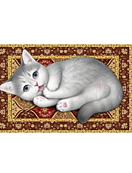 Acting Cute Cat 3D Stickers The Floor Tile Individuality Decorative Carpet Decal for The Bathroom Or The Living Room