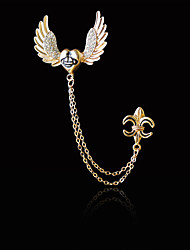 Women's Boys´ Other Brooches Euramerican Hip-Hop Personalized Gold Plated Alloy Heart Anchor Wings / Feather Silver Gold Jewelry ForDaily