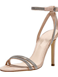 cheap -Women's Shoes Leatherette Summer D'Orsay & Two-Piece Formal Shoes Sandals Stiletto Heel Open Toe Buckle Hollow-out for Wedding Dress