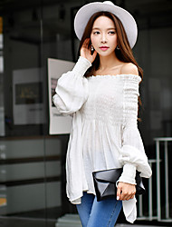 DABUWAWA Women's Going out Beach Holiday Vintage Boho Sophisticated Summer Shirt,Solid Off Shoulder Long Sleeves Nylon Others Opaque Medium