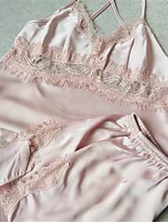 cheap -Women's Satin & Silk Nightwear,Retro Lace Solid-Medium Polyester