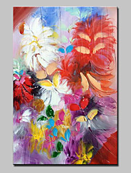cheap -Oil Painting Hand Painted - Floral/Botanical European Style Modern Canvas