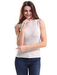 Dámské Jednobarevné Běžné/Denní Jednoduché Tričko-Léto Bavlna Polyester Kulatý Bez rukávů Tenké