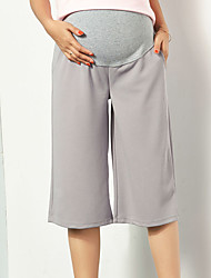 cheap -Women's Street chic Maternity Cotton Slim Wide Leg Chinos Pants - Solid Colored Pleated High Rise
