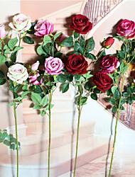 preiswerte -1 Ast Trockenblume Rosen Lila Tisch-Blumen Künstliche Blumen