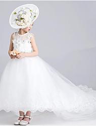 abito da sera vestito asimmetrico dalla ragazza del fiore - collo di gioiello sleeveless del organza con applique da ydn