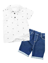 cheap -Boys' Print Clothing Set,Rayon Summer Short Sleeve Cartoon White Navy Blue