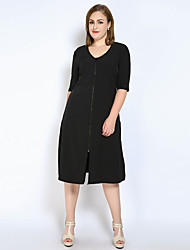 cheap -Really Love Women's Daily Work Plus Size Cute Casual Sexy Shift T Shirt Tunic Dress,Solid U Neck Midi Polyester Spring Summer Mid Rise Inelastic Thin