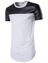 Men's Sports Casual/Daily Beach Simple Active Summer T-shirt,Color Block Round Neck Short Sleeve Cotton Medium