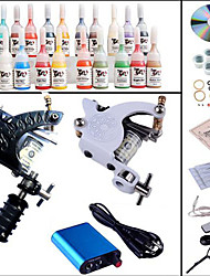 cheap -Tattoo Machine Professional Tattoo Kit 2 steel machine liner & shader High Quality Mini power supply 1 x aluminum grip 10 Classic Daily