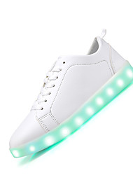 Men and Women's Sneakers Summer Fall Light Up Shoes Cowhide Casual Flat Heel LED