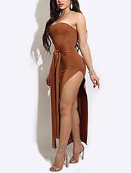 Feminino Tubinho Vestido,Casual Festa/Coquetel Bandagem Sensual Simples Moda de Rua Sólido Sem Alças Longo Sem Manga PoliésterPrimavera