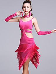 Latin Dance Dresses Women's Performance Viscose Crystals/Rhinestones Tassel(s) 5 Pieces Sleeveless Natural Dress Gloves Neckwear Shorts