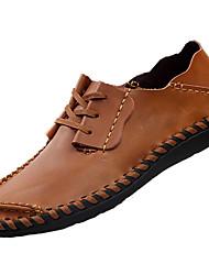 Men's Sneakers Comfort PU Spring Fall Outdoor Comfort Flat Heel Light Brown Flat