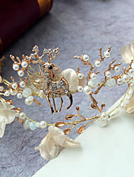 Imitation Pearl Rhinestone Alloy Tiaras Headbands Headpiece