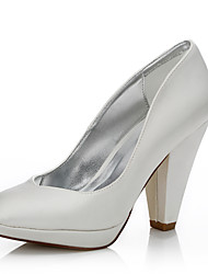 Women's Dyeable Wedding Shoes Fall Winter Comfort Shoes Silk Wedding Outdoor Office & Career Dress Party & Evening Chunky Heel Ivory