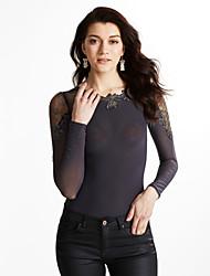 economico -T-shirt Da donna Per uscire / Casual Semplice Autunno,Tinta unita Asimmetrico Poliestere Nero / Grigio Manica lunga Medio spessore