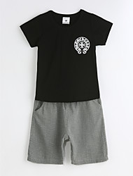 billige -Drenge Tøjsæt Daglig Ensfarvet, Bomuld Sommer Kortærmet Sort