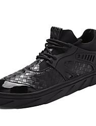 economico -Da uomo scarpe da ginnastica Comoda Suole leggere PU (Poliuretano) Estate Autunno Tempo libero Casual Sportivo Corsa Piatto Bianco Nero