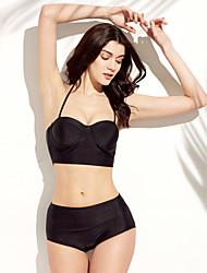 Women's Halter Bikini,High Rise Polyester Black