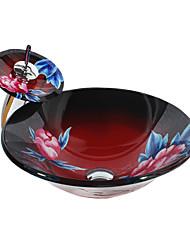 abordables -Contemporáneo Redondo material del disipador es Vidrio Templado Lavabo de Baño