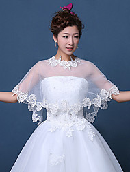 Women's Wedding Wrap Capelets Sleeveless Lace Tulle Wedding Party/Evening Embroidery Lace Grace Bride Shawl White