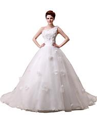 Ballkleid Ein-Schulter Boden-Länge Pinsel Schleppe Spitze Tüll Hochzeitskleid mit Schärpe / Band Blume Seiten-drapiert durch Sarahbridal