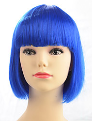 cheap -Hot Sale Blue Color Wig Synthetic Wigs Short Bob Straight Style Fashion Women Wig For Party