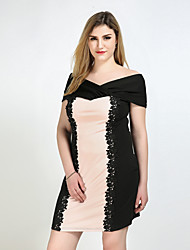 cheap -Really Love Women's Party Daily Plus Size Vintage Cute Sexy Shift Sheath Lace Dress,Color Block Strap Knee-length Short Sleeves Polyester Spandex All