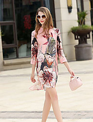 Women's Going out Casual/Daily A Line Dress,Embroidered Round Neck Mini Sleeveless Polyester Spring Summer Mid Rise Inelastic Thin Medium