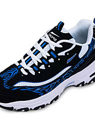 cheap -Men's Athletic Shoes Couple Shoes Tulle Spring Fall Casual Running Couple Shoes Lace-up Flat Heel Black/White Black/Blue 2in-2 3/4in