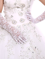 White Lace Bridal Opera Length Gloves Wedding Glove for Events/Party Wedding Dress With DIY Pearls and Rhinestones