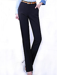 cheap -Women's Wide Leg Solid Black OL Style Bodycon Suit Pants,Plus Size/Work