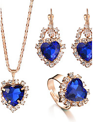 Women's Ring Necklace/Earrings Bridal Jewelry Sets Crystal Rhinestone Pendant Rhinestones Heart Luxury Bridal Elegant Fashion Adjustable