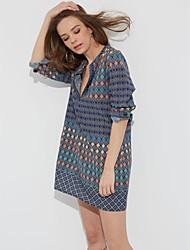 Damen Lose Kleid-Lässig/Alltäglich Einfach Druck V-Ausschnitt Mini Langarm Blau Polyester Alle Saisons Tiefe Hüfthöhe Mikro-elastisch