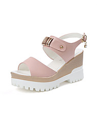 cheap -Women's Sandals Club Shoes PU Spring Summer Casual Dress Club Shoes Beading Buckle Wedge Heel White Blushing Pink Light Blue 3in-3 3/4in