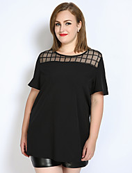 cheap -Really Love Women's Plus Size T-shirt - Solid Colored Check Mesh