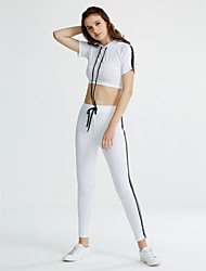 abordables -Mujer Un Color Deportes Activo Pantalón Corto, Escote Redondo Primavera Verano Sin Mangas Algodón