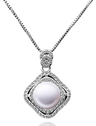 Women's Pendant Necklaces Chain Necklaces Imitation Pearl AAA Cubic Zirconia Single Strand Round Heart GeometricImitation Pearl Zircon