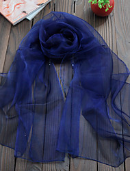cheap -Women Scarf Cute Party Casual Rectangle Navy Blue/Green/Army Green Solid Scarves Organza