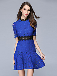 SUOQI Women's Going out Casual/Daily Simple Sophisticated Lace Trumpet/Mermaid Dress Round Neck Short Sleeve