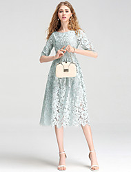 cheap -Women's Work Simple / Sophisticated A Line / Lace Dress - Embroidered Lace