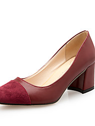 Women's Heels Spring Summer Fall Comfort PU Office & Career Casual Chunky Heel Split Joint Walking